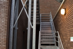 Galvanised- emergency exit stairwell and platform